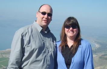 Gavin Drake with Jill Saward near the Sea of Galilee